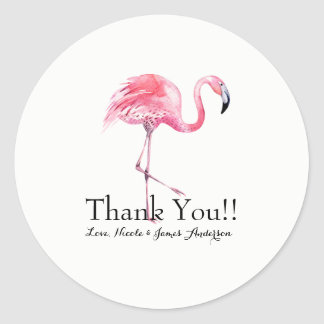 Pink Flamingo Tropical Elegant Wedding Favor Classic Round Sticker