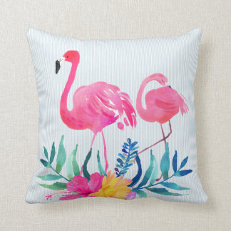 Pink Flamingo Tropical Flowers Cushion