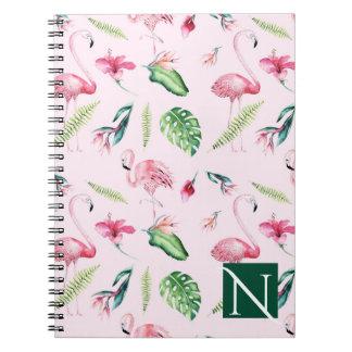 Pink Flamingo Tropical Hibiscus Floral Fun Summer Notebook