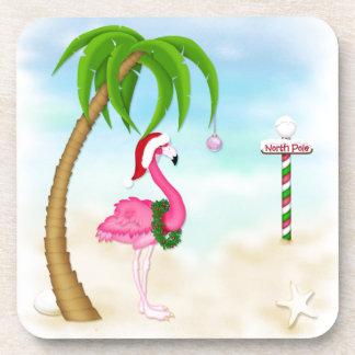 Pink Flamingo Tropical Holiday Coasters