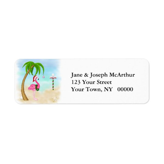 Pink Flamingo Tropical Holiday Return Address Label
