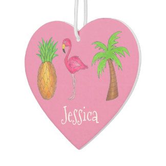 Pink Flamingo Tropical Island Palm Tree Pineapple Car Air Freshener