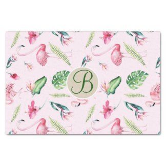 Pink Flamingo Tropical Monogram Letter Initial Tissue Paper
