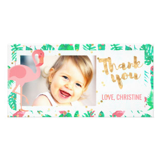 pink flamingo tropical thank you photo card template