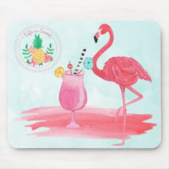 Pink Flamingo Tropical Watercolor MousePad Design