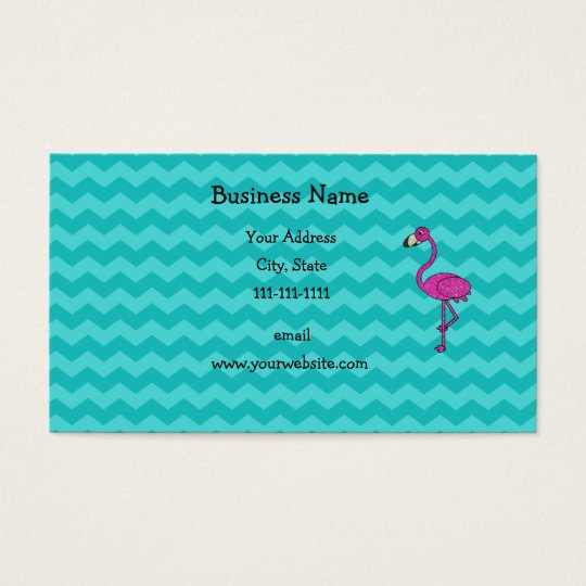 Pink flamingo turquoise chevrons business card