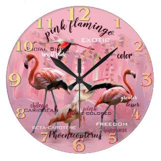 Pink Flamingo Typography | Customized Large Clock