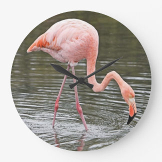 pink flamingo wall clock