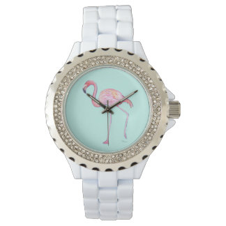 Pink Flamingo Watch - Mint green