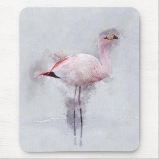 Pink Flamingo Watercolor Mouse Mat