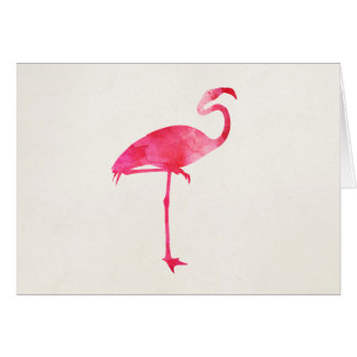 Pink Flamingo Watercolor Silhouette Florida Birds Card
