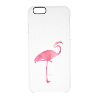 Pink Flamingo Watercolor Silhouette Florida Birds Clear iPhone 6/6S Case