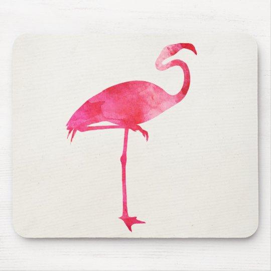 Pink Flamingo Watercolor Silhouette Florida Birds Mouse Mat