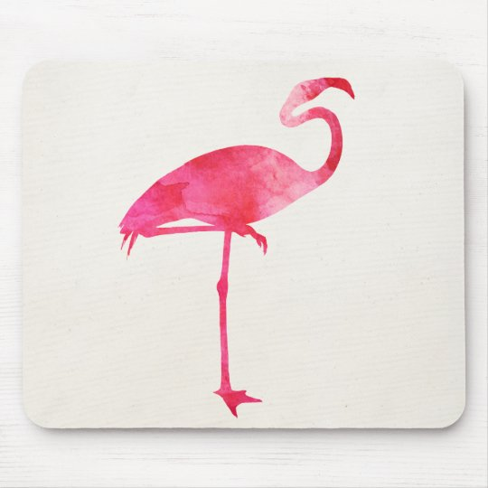 Pink Flamingo Watercolor Silhouette Florida Birds Mouse Pad