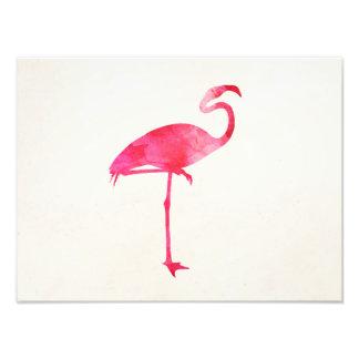 Pink Flamingo Watercolor Silhouette Florida Birds Photo Print