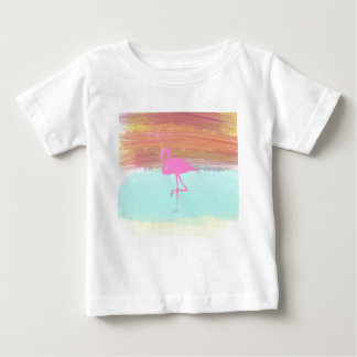 Pink Flamingo Watercolour Beach  Style Design Baby T-Shirt