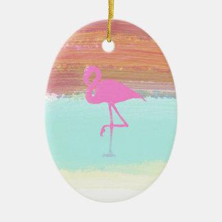 Pink Flamingo Watercolour Beach  Style Design Ceramic Oval Decoration