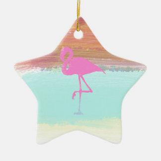 Pink Flamingo Watercolour Beach  Style Design Christmas Ornament