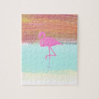 Pink Flamingo Watercolour Beach  Style Design Jigsaw Puzzle