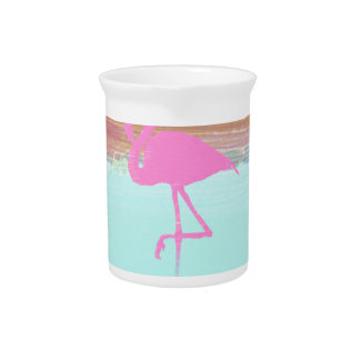 Pink Flamingo Watercolour Beach  Style Design Pitcher