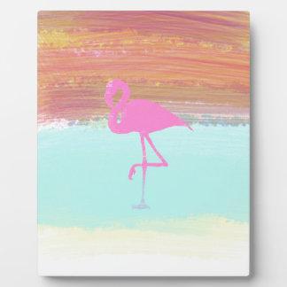 Pink Flamingo Watercolour Beach  Style Design Plaque