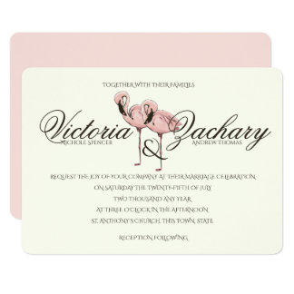Pink Flamingo Wedding 13 Cm X 18 Cm Invitation Card