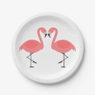 Pink Flamingo Wedding Bridal Shower Love Luau Paper Plate