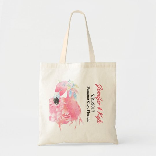 Pink Flamingo Wedding favour Tote Bag