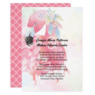 Pink Flamingo Wedding Invitation