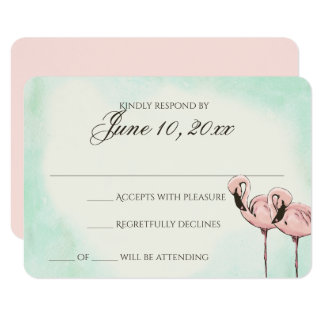 Pink Flamingo Wedding Response Card 9 Cm X 13 Cm Invitation Card