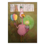 Pink Flamingo Whimsical Happy Birthday Card