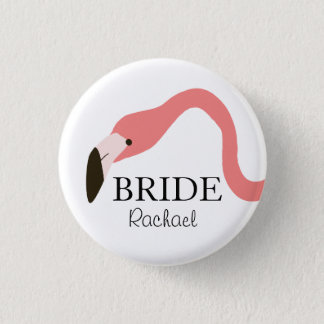Pink Flamingo Whimsy Bride 3 Cm Round Badge