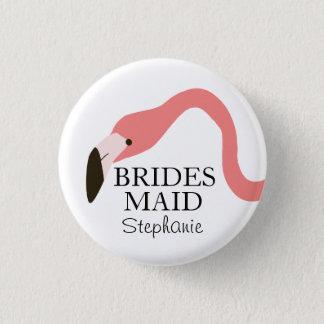 Pink Flamingo Whimsy Bridesmaid 3 Cm Round Badge