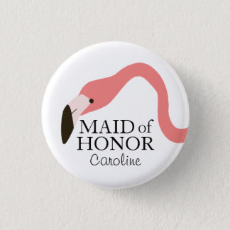 Pink Flamingo Whimsy Maid of Honor 3 Cm Round Badge