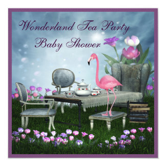 Pink Flamingo Wonderland Tea Party Baby Shower 13 Cm X 13 Cm Square Invitation Card