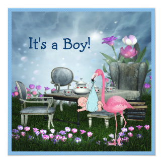 Pink Flamingo Wonderland Tea Party Boy Baby Shower 13 Cm X 13 Cm Square Invitation Card