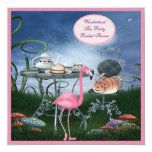 Pink Flamingo Wonderland Tea Party Bridal Shower 13 Cm X 13 Cm Square Invitation Card