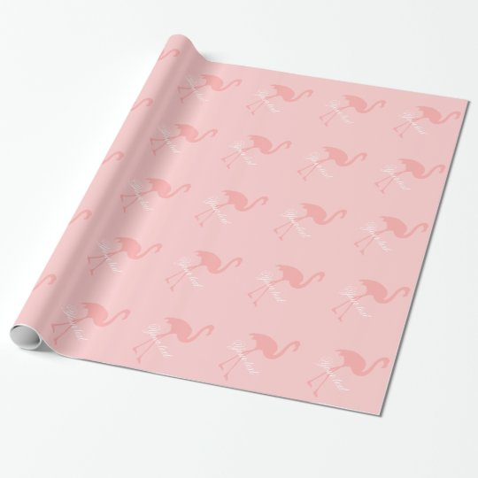 Pink flamingo wrapping paper | Personalised text