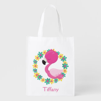 Pink Flamingo Yellow and Blue Flowers Reusable Grocery Bag