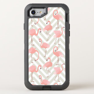 Pink Flamingos and Chevrons Pattern OtterBox Defender iPhone 8/7 Case