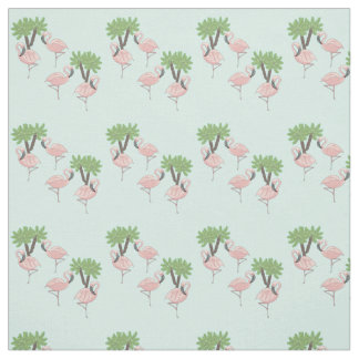 Pink Flamingos and Palm Trees Fabric