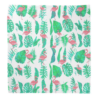 pink flamingos and tropical green leaves pattern bandana