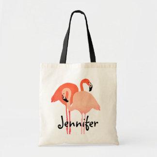 Pink Flamingos Beach Wedding Budget Tote Bag
