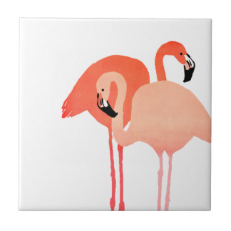 Pink Flamingos Beach Wedding Small Square Tile