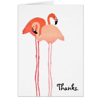 Pink Flamingos Beach Wedding Thank You Note Card