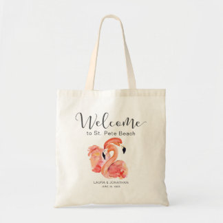 Pink Flamingos Beach Wedding Welcome Tote Bag