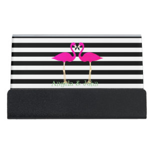 Pink and white stripes business card holders cases zazzle pink flamingos black white stripespersonalised desk business card holder reheart Image collections