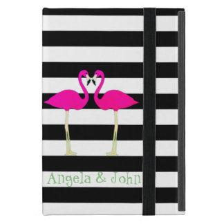 Pink Flamingos ,Black White Stripes,Personalized iPad Mini Case
