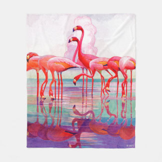 Pink Flamingos by Francis Lee Jaques Fleece Blanket