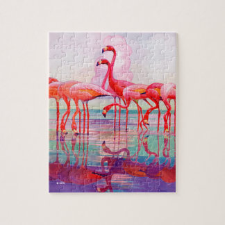 Pink Flamingos by Francis Lee Jaques Puzzle